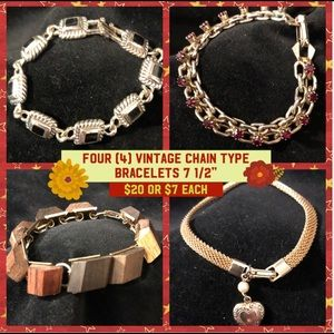 4 Vintage chain type bracelets $20 or one (1) $7